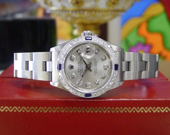 Ladies ROLEX Oyster Perpetual Datejust Diamond Dial and White Gold Diamond Bezel Watch