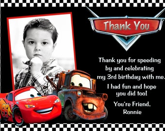 Disney Cars Lightning McQueen Mater Thank You Card