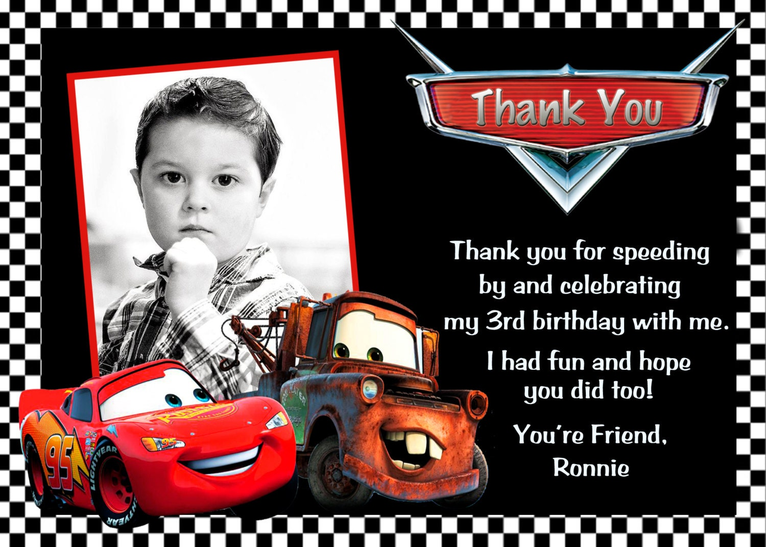 disney cars lightning mcqueen mater thank you card 🔎zoom