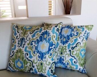 Cushions Coastal Rustic Vintage Tropical Blues & Greens Lounge Pillows Cushions, Decorative Scatter Cushion, Designer.