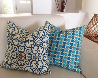 Teal Cushions Turquoise Pillows, Bohemian Moroccan Teal Pillows Decorative Pillows