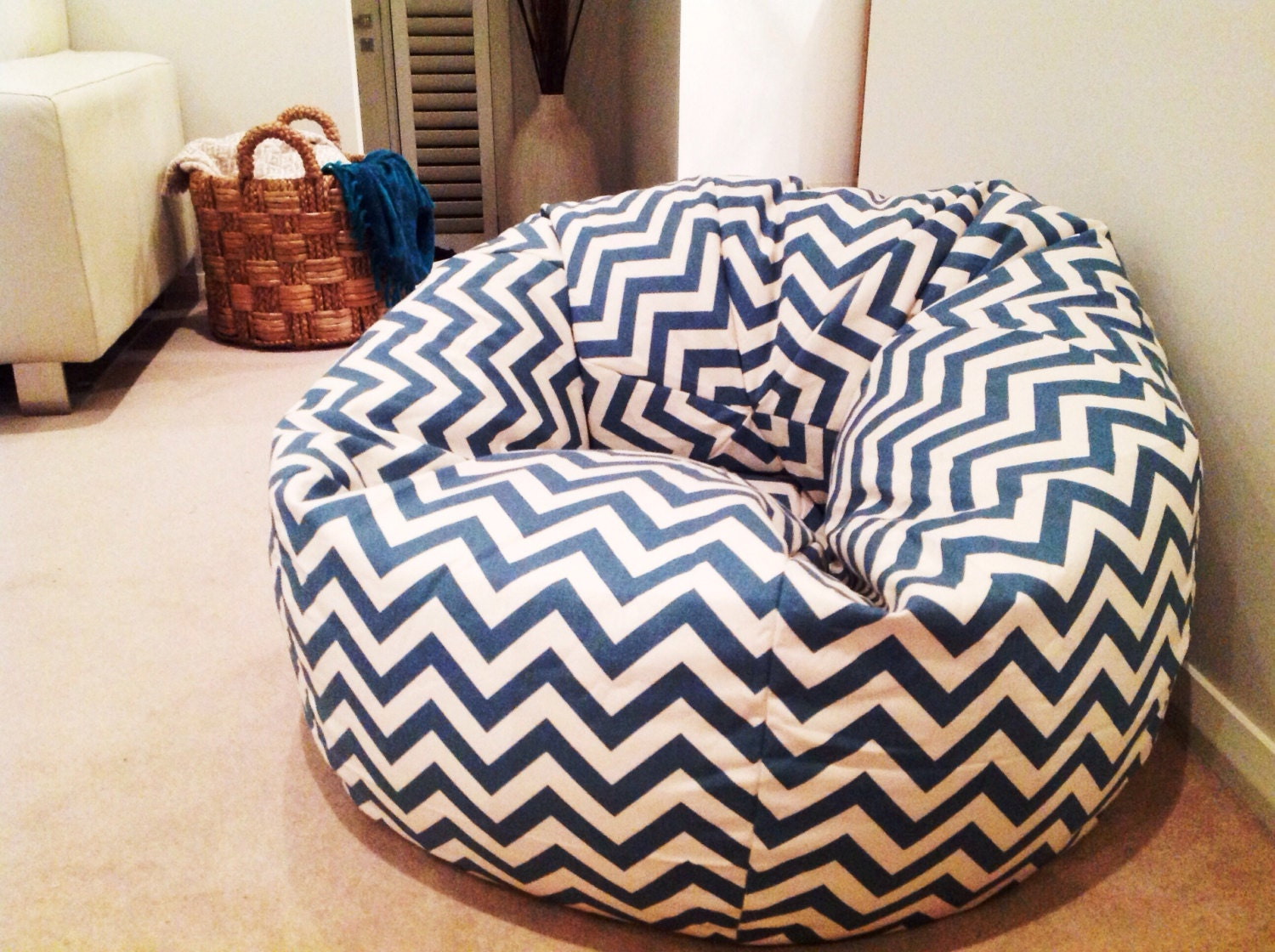 Bean bag chairs for teenage girls - Chevron Bean Bag Cover Adults Bean Bag Kids Bean Bag Zig Zag Chevron Design Denim