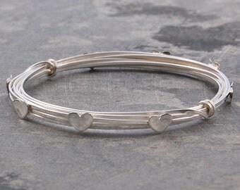 Silver Heart Bangle - Heart Bracelet - Wire Bangle - Wire Wrapped Bangle - 925 Silver Bangle - Heart Jewelry - Bangle Bracelet - Bangles