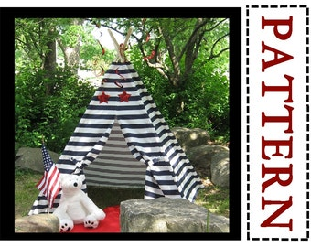 Striped Teepee Sewing Pattern, Easy to Sew, Instant Download