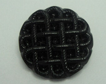 Czech Glass Button 27mm - black (B27003)
