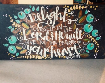 Painted quote or bible verse, acrylic on wood