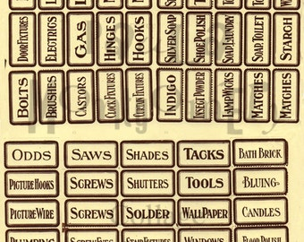 Vintage Hardware Store Drawer Labels Digital Download Collage Sheet