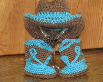 Newborn Baby Crochet Cowboy Hat & Boots Photo Prop....