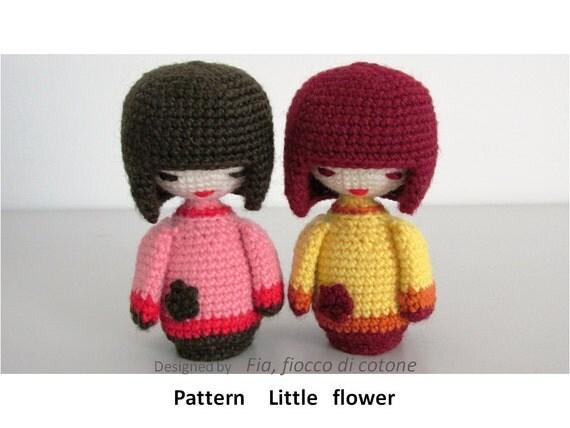 Pattern Little Flower kokeshi doll amigurumi by cottonflake