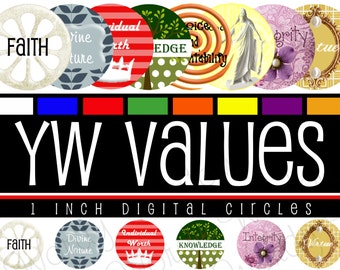 Young Women Values, Digital Collage Sheet, 1 Inch Round Circles