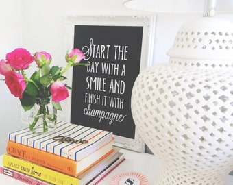 Print by Honey and Fizz - Start the day with a smile - black. Printed on matt 200gsm paper. Colour - black and white