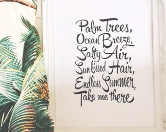 Print by Honey and Fizz - Endless Summer. A cute quote printed on matt 200gsm paper. Colour - black and white