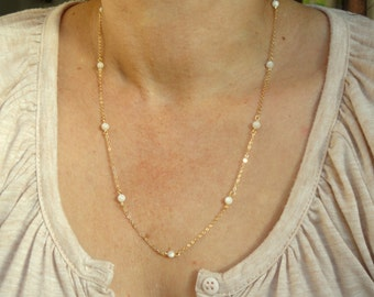 16k gold delicate mother of pearl necklace, Delicate gold pearl necklace, Delicate necklace, Mother of pearl necklace, Gifts
