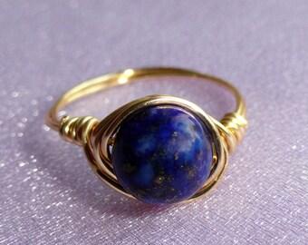 Lapis Lazuli wire wrapped ring, Gold lapis lazuli wire wrapped ring, Gemstone ring, Blue stone ring