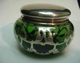Art Nouveau Sterling silver overlay powder jar.