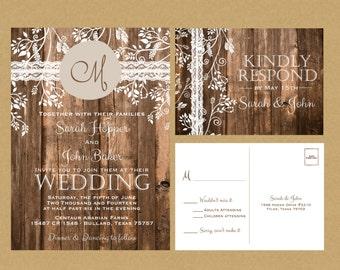 Rustic Wood & Vintage Lace Wedding Invitation + RSVP
