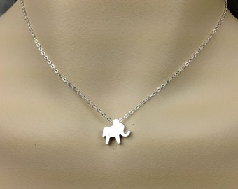 Sterling silver - Tiny Elephant Necklace. Baby Elephant Necklace. Everyday Jewelry. Animal Necklace. Good Luck Necklace