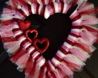 READY TO SHIP Valentines Tulle Wreath Heart Shape