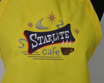 Retro Cafe Embroidered Apron