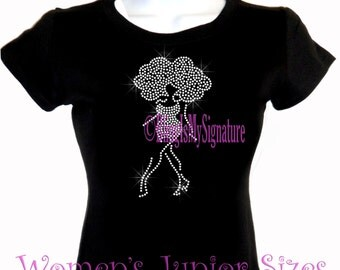 Lady Figure Standing - CLEAR - Iron on Rhinestone Afro T-Shirt - Bling Hot Fix Natural Hair T Shirt Style Stylist Transfer Afro Shirt Top