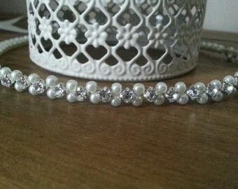 Bridal Forehead Halo Headband Ivory Pearl Diamante Vintage Brow band Wedding