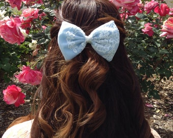 Ice Blue Bow w/ White Lace