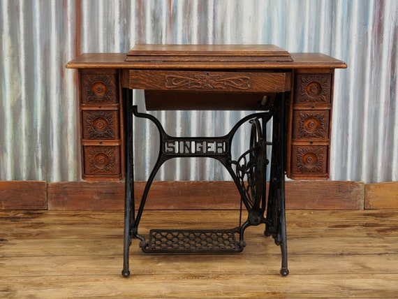 Items Similar To Antique Vintage Singer Treadle Sewing
