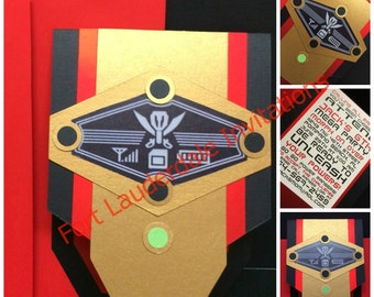 Handmade Customizable Morpher Invitation Set with Red Envelopes,  Boy Party, Set of 15+