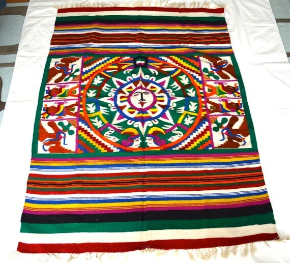 Mexican Rug Images: Vintage Mexican Aztec Wool Rug Blanket