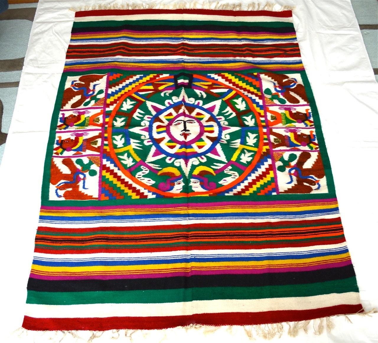 Vintage Mexican Aztec Wool Rug Blanket