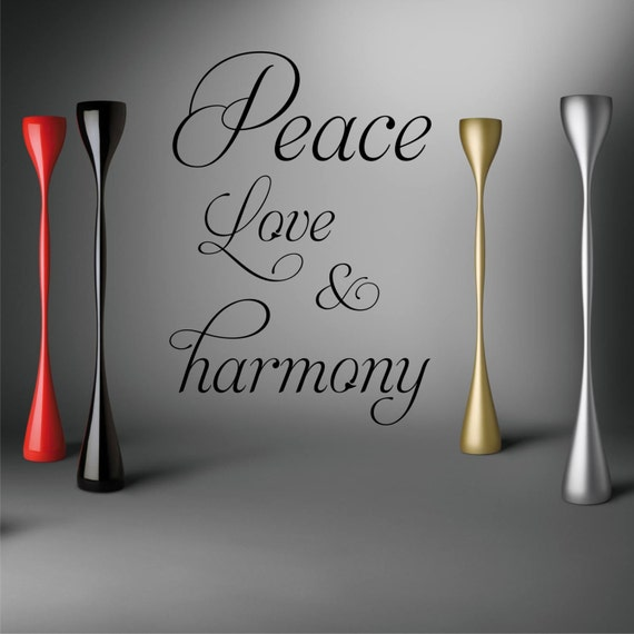 peace love harmony wall art quote from aztecgraphics on etsy studio. Black Bedroom Furniture Sets. Home Design Ideas