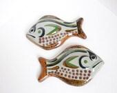 Vintage Mid Century Pair of Hand Painted Ceramic Fish