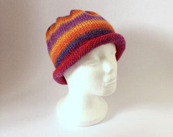 Hand Knitted Rainbow Stripes Beanie - Winter Accessory for Women
