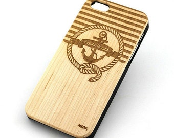 W139 Real Wood W Plastic Case Cover For Iphone 4 4s Nautical Anchor / Refuse To Sink