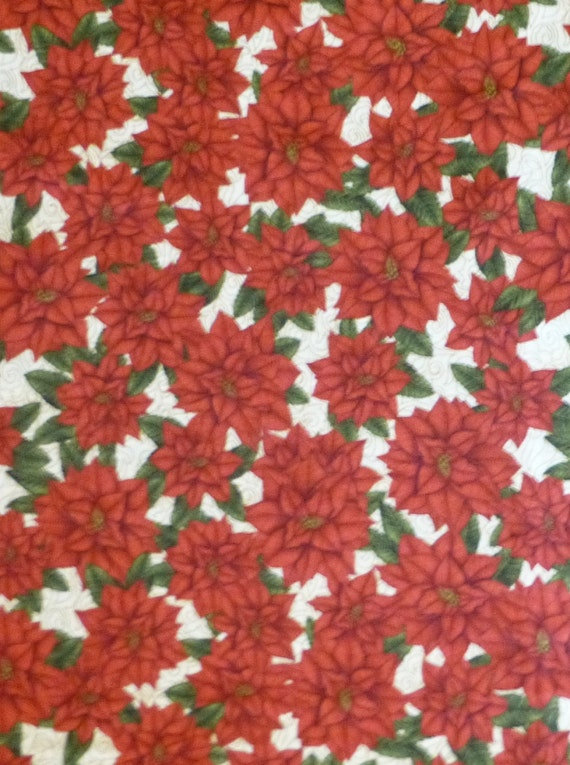 Cotton Fabric Quilt Home Decor Craft Christmas Pointsettias Christmas Elegance By The Yard