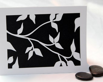 White  Branch and Leaves Silhouette Paper Cut Note Card