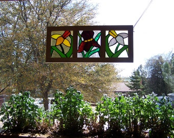 Stained glass Flower Box/ Spring Iris & Daffodils
