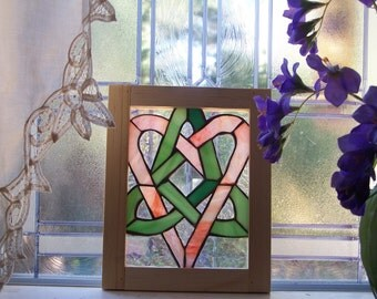 Wood framed stained glass  Celtic Sister Knot