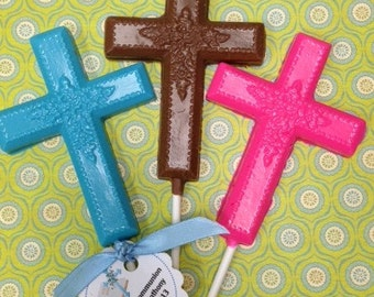 Chocolate Cross Lollipop for Baptisms, Christenings, Communions
