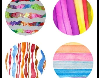 Watercolor Stripes - Digital Dowloads - 30mm Jewelry Collage Sheets - Cabochon Designs - 30mm Pendants - Digtals - DDP437