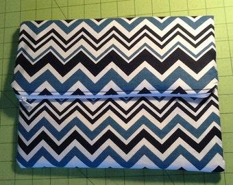 Super cute Blue Chevron  Fold over Clutch