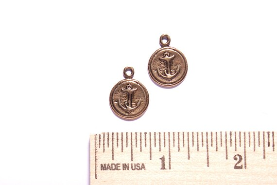 Ancor pendant charm for necklace, bracelet or earrings in solid antique bronze