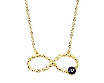 Twisted Infinity Evil Eye Enameled 14k Solid Gold Necklace