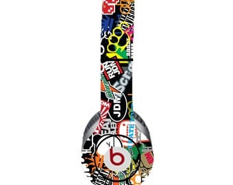 """Colorful """"stickers"""" with Black Background Beats by Dre Solo Skin  (**NOT HEADPHONES**)"""