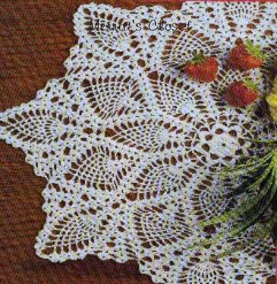 Crochet Patterns Vintage Doilies : Pineapple Doily 19.5 Vintage Crochet Pattern