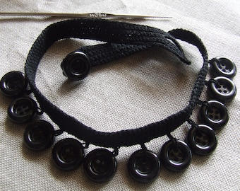 Collar of vintage buttons in black tone