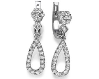 2/3 Carat White Gold Diamond Earrings, Unique Diamond Earrings, Designer Drop Earrings, Drop 14K White Gold Earrings, 0.66ct Bridal Jewelry