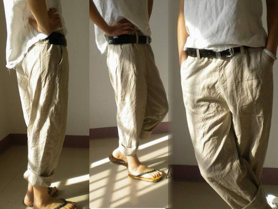 028Slightly Tapered Boyfriend French Linen pants Excluding