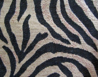 Black and Oatmeal FAUX TIGER STRIPE  Contemporary Woven Upholstery Fabric