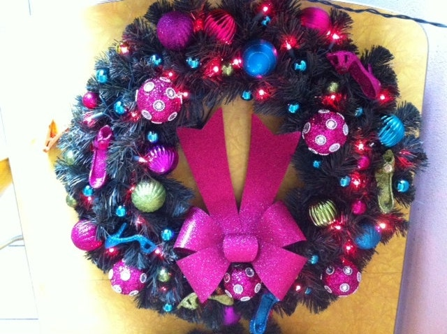 High heels shopping colorful handmade one of a kind holiday christmas wreath